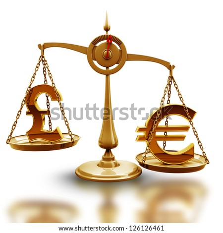Golden Scale with symbols of currencies Euro vs British pound isolated on white background High resolution 3d render - stock photo
