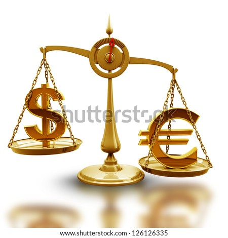 Golden Scale with symbols of currencies Euro vs US dollar isolated on white background High resolution 3d render - stock photo