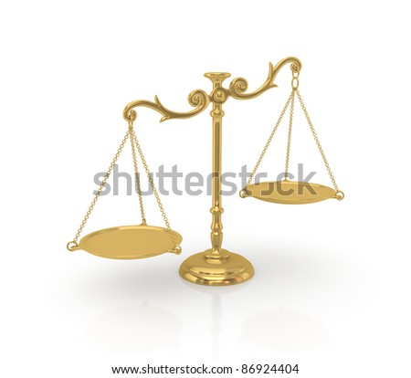 Golden scales.3d rendered.Isolated on white background. - stock photo
