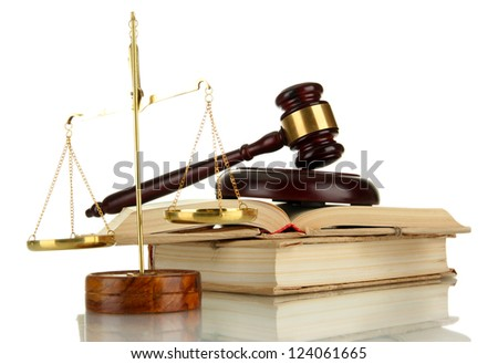 Golden scales of justice, gavel and books isolated on white - stock photo