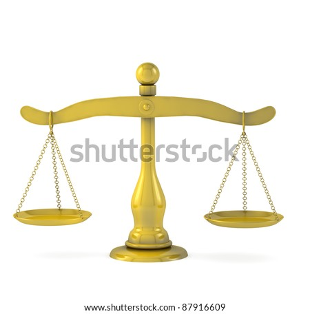 Golden scales of justice on a white background - stock photo