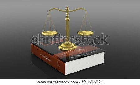 Golden scales of justice on book of law against of black background - stock photo