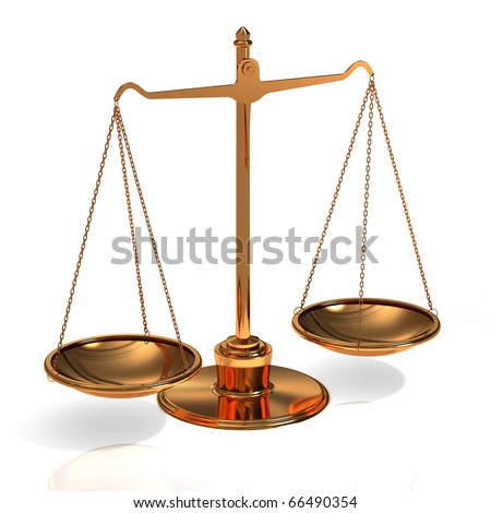 golden scales  on a white background - stock photo