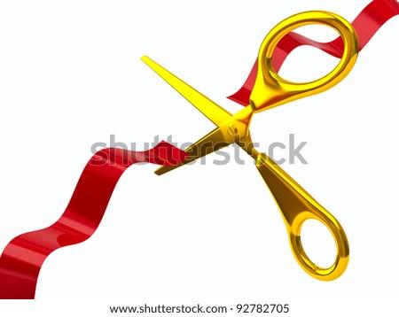 Golden scissors cutting red ribbon - stock photo