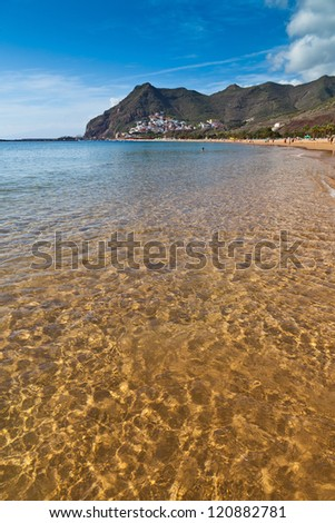 Golden Sea Water in Las Teresitas Beach, Tenerife, Spain