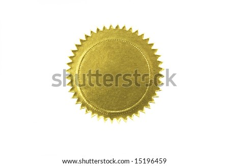golden seal isolated against white background - stock photo