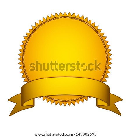 Golden Seal Stamper with  Gold Ribbon - stock photo