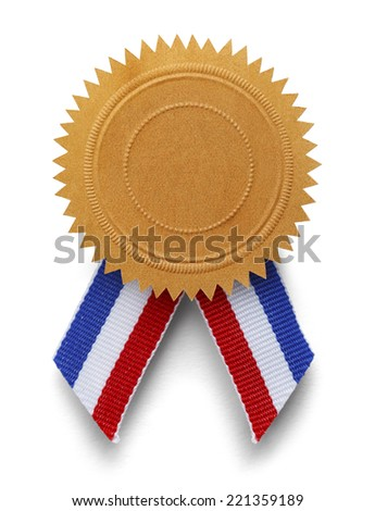 Golden Seal with Red, White and Blue Ribbon Isolated on White Background. - stock photo