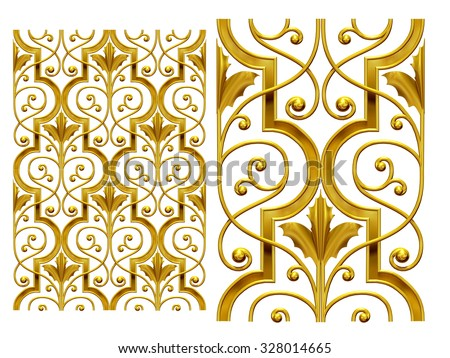 golden segment for surface ornament - stock photo