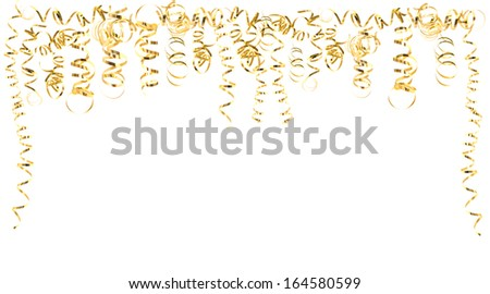 golden serpentine streamers isolated on white. carnival, party decoration. holidays background with space for your text - stock photo