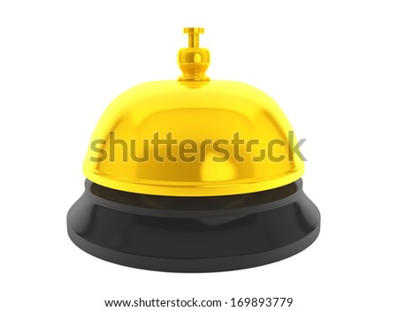 Golden Service Bell on a white background - stock photo