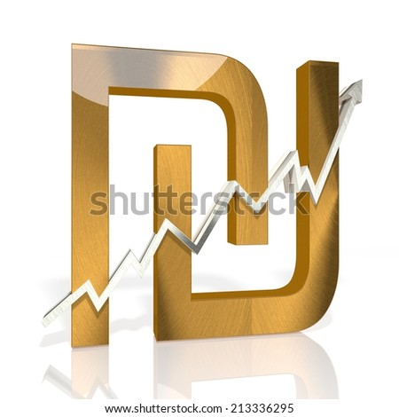 golden Shekel sign with stock market up graph in stylish silver 3d rendered and isolated on white background - stock photo