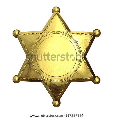 Golden sheriff's badge - isolated on white