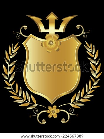golden shield design  - stock photo