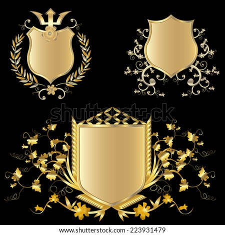 golden shield design set with various shapes and decoration - stock photo