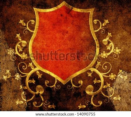 golden shield design, vintage style - stock photo