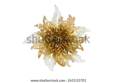 Golden shining glass flower isolated over white - stock photo