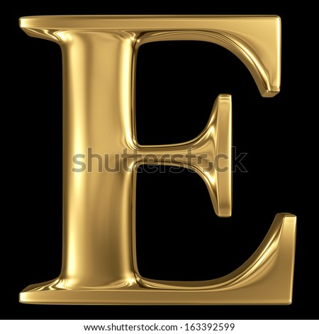 Golden shining metallic 3D symbol capital letter E - uppercase isolated on black - stock photo