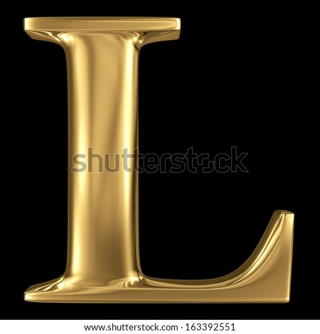 Golden shining metallic 3D symbol capital letter L - uppercase isolated on black