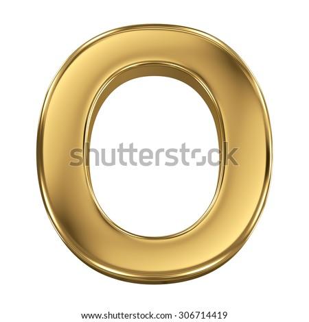 Golden shining metallic 3D symbol letter O - isolated on white - stock photo