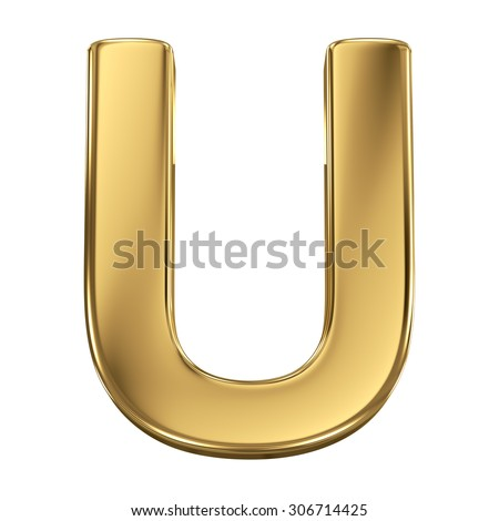 Golden shining metallic 3D symbol letter U - isolated on white - stock photo
