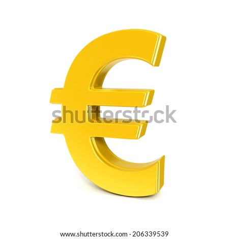 golden shinny euro symbol isolated on white - stock photo