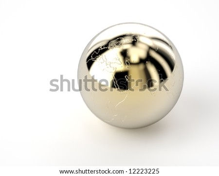 golden shiny ball with earth map - stock photo