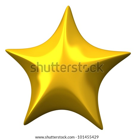 Golden shiny star 3d - stock photo