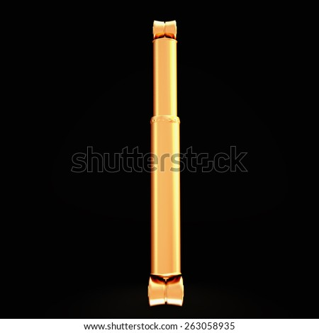 Golden shock absorber isolated on black background.  High resolution