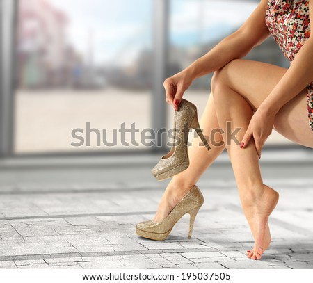 golden shoes of heels  - stock photo
