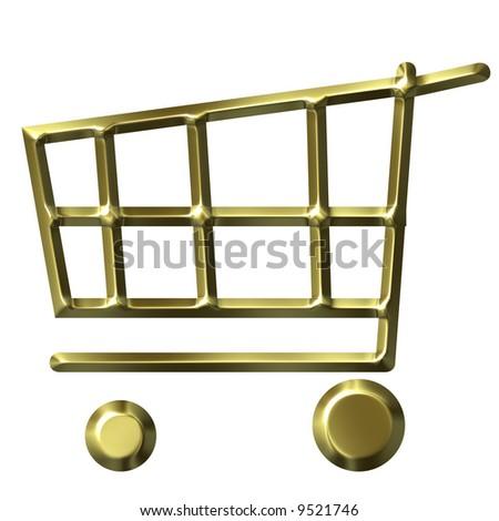 Golden shopping cart - stock photo