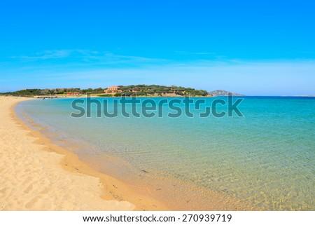 golden shore in Porto Pollo beach, Sardinia - stock photo