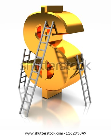 Golden sign of dollar with stairs, concept success - stock photo
