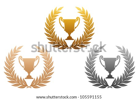 Golden, silver and bronze laurel wreaths with trophy for sports design, such logo. Vector version also available in gallery - stock photo