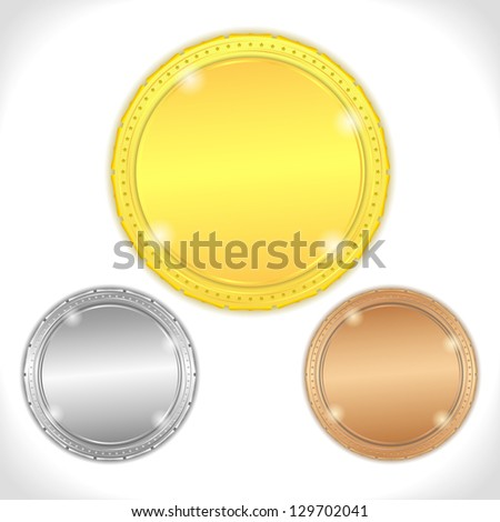 Golden, silver and bronze medals - stock photo