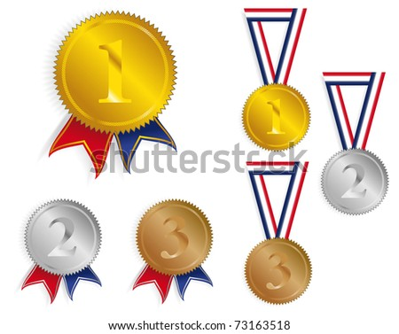 Golden, Silver and Bronze Medals With Ribbons - stock photo