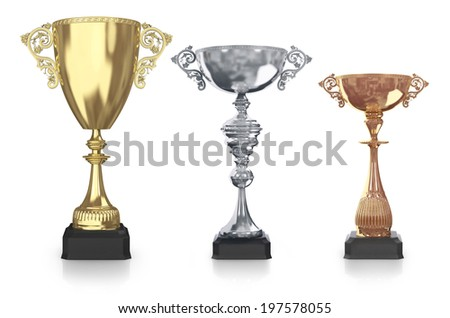 golden,silver and bronze trophies - stock photo
