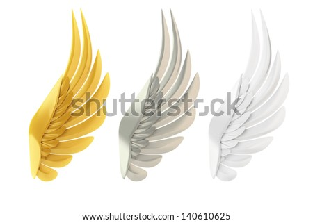 Golden, silver and white wings, isolated on white background. - stock photo