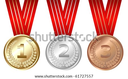 Golden, Silver, Bronze Medals, Isolated On White - stock photo