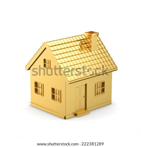 golden simple house isolated white background with clipping path - stock photo