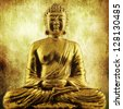 golden sitting buddha - stock photo