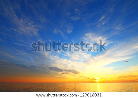 Golden sky of a decline - stock photo