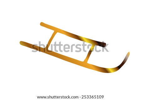 golden sledge silhouette, downhill - stock photo