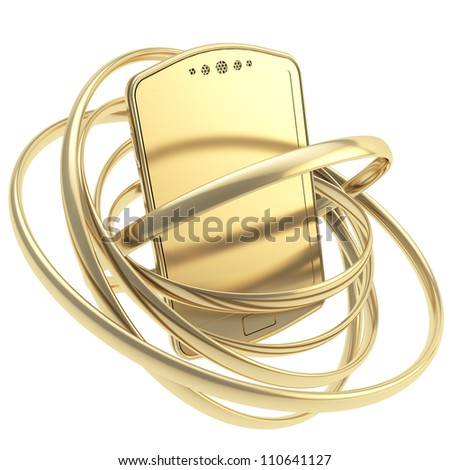 Golden smart mobile phone concept surrounded with glossy rings isolated on white