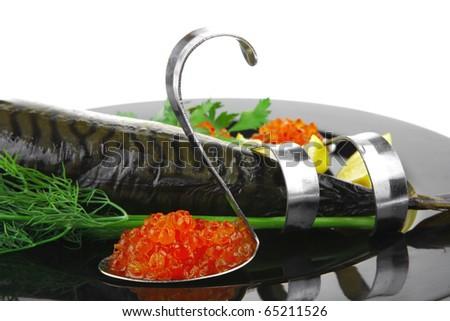 golden smoked herring and fresh red caviar - stock photo