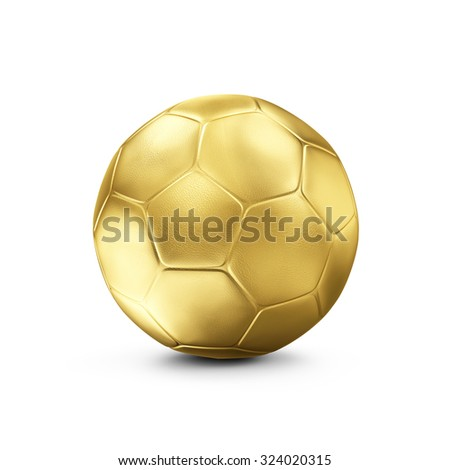 Golden Soccer Ball isolated on white background. Concept of Success. Sport and Recreation Concept. - stock photo