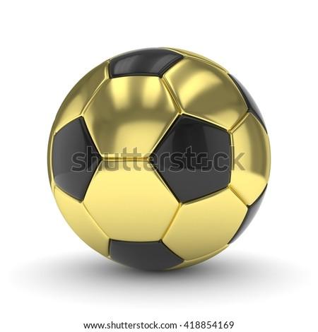 Golden soccer ball on white background. 3D rendering. - stock photo