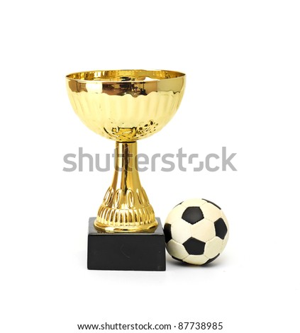 Golden soccer cup - stock photo