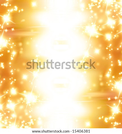 golden sparkles on a bright orange or yellow background