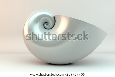 golden spiral shell - stock photo